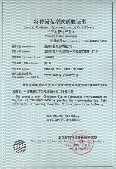 Type Test Certificate of Gate Valve