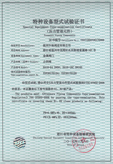 Type Test Certificate of Check Valve